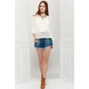 Stylish V-Neck 3/4 Sleeve Asymmetrical Hollow Out Women's Blouse - WHITE ONE SIZE(FIT SIZE XS TO M)