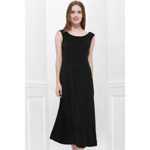 Bohemian Style Delicate Scoop Neck Solid Color V-Shape Backless Black Sleeveless Maxi Dress For Women - Black - One Size(fit Size Xs To M)