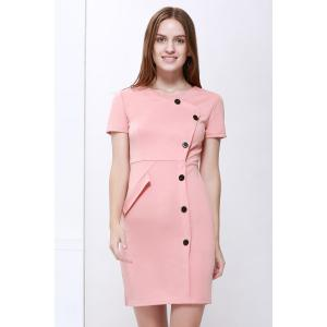 Button Up Sheath Dress with Short Sleeve