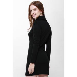 Roll Neck Slit Front Design Pullover Jumper Dress - BLACK S
