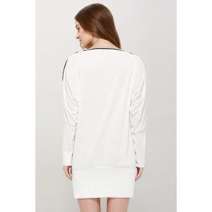 Charming Boat Neck Solid Color Zipper Embellished Long Sleeve Cotton Blend Women's T-Shirt - WHITE ONE SIZE