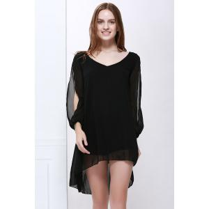 Slit Sleeve V Neck Chiffon High Low Dress