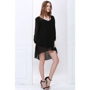 Slit Sleeve V Neck Chiffon High Low Dress - BLACK XL