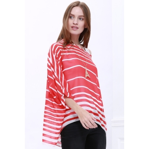 Casual Scoop Neck Striped Batwing Sleeve Women's Blouse - RED XL