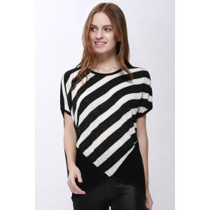 Scoop Neck Sloping Stripe Print Batwing Sleeve Women's Summer Blouse
