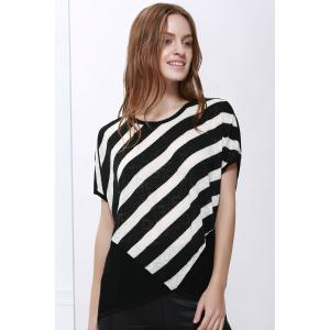Scoop Neck Sloping Stripe Print Batwing Sleeve Women's Summer Blouse -