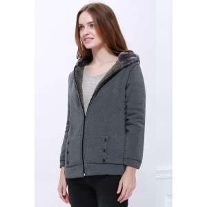 Fashion Casual Women's Thicken Hoodie Coat Outerwear Jacket - DEEP GRAY ONE SIZE