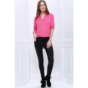 Casual Style 1/2 Sleeve Stand-Up Collar Solid Color Women's Blouse - ROSE MADDER XL