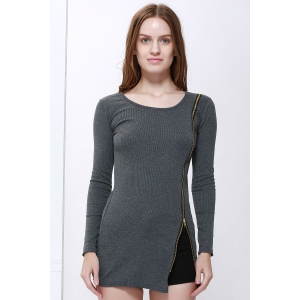 Scoop Neck Solid Color Zip Decorated Women's Long Sleeve Dresses