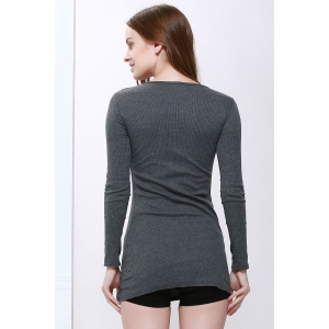 Scoop Neck Solid Color Zip Decorated Women's Long Sleeve Dresses - DEEP GRAY ONE SIZE