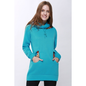 Korean Thicken Solid Color Thicken Hooded Long Sleeves Women's Hoody - BLUE M