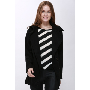 Fashion Hooded Solid Color Single-Breasted Long Sleeves Thickened Design Women's Coat - Black - Xl