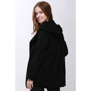 Fashion Hooded Solid Color Single-Breasted Long Sleeves Thickened Design Women's Coat -
