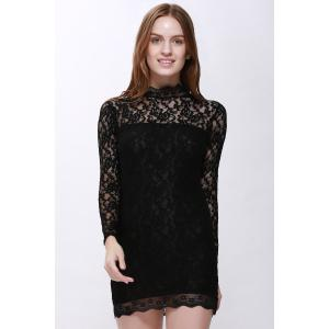 Lace Back Cut Out Mini Night Club Bodycon Dress - BLACK M