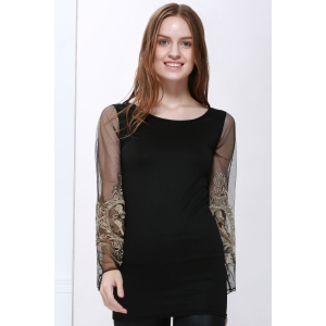 Voile Splicing V-Neck Sexy Style Ninth-Minute Sleeves Slimming Women's Dress - Black - Xl