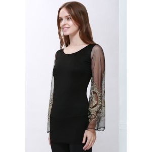 Voile Splicing V-Neck Sexy Style Ninth-Minute Sleeves Slimming Women's Dress - BLACK M