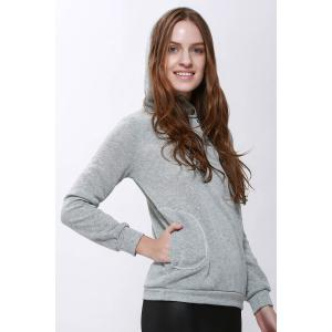 Casual Solid Color Long Sleeve Hoodie For Women