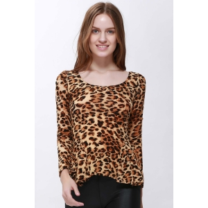 Sophisticated Style Long Sleeves Scoop Neck High Elasticity Cotton Women's T-Shirt -