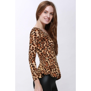 Sophisticated Style Long Sleeves Scoop Neck High Elasticity Cotton Women's T-Shirt - LEOPARD ONE SIZE