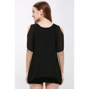 Plain Cold Shoulder Chiffon Dress - BLACK ONE SIZE