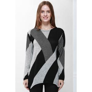 Stylish Jewel Neck Long Sleeve Geometric Loose-Fitting T-Shirt For Women