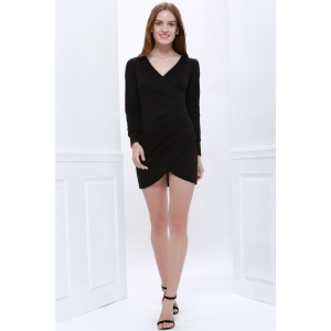 Solide Couleur col V à manches longues club Sexy Coton Style Blend Dress -