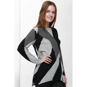 Stylish Jewel Neck Long Sleeve Geometric Loose-Fitting T-Shirt For Women -