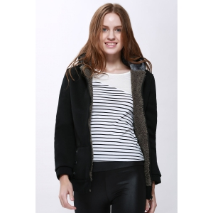 Fashion Casual Women's Thicken Hoodie Coat Outerwear Jacket - Black - One Size