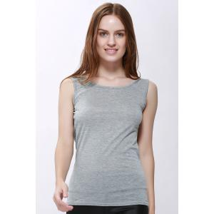 Sexy Scoop Neck Solid Color Backless Tank Top For Women - GRAY S