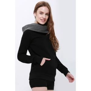 Casual Style Loose-Fitting Solid Color Long Sleeve Women's Hoodie - BLACK L