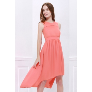 High Low Hem Chiffon Bridesmaid Dress - ORANGEPINK M