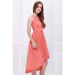 High Low Hem Chiffon Bridesmaid Dress - ORANGEPINK S