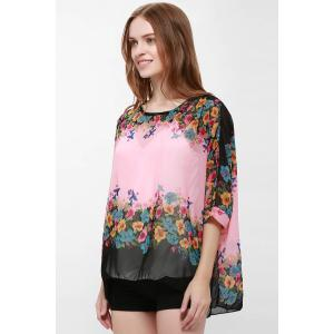Bohemia Style Scoop Neck Loose-Fitting Bat-Wing Floral Print Women's Blouse - PINK L