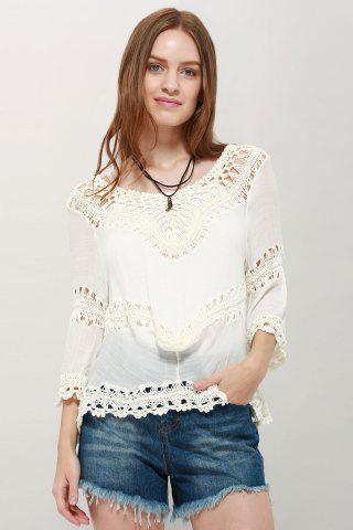 Chic Stylish V-Neck 3/4 Sleeve Asymmetrical Hollow Out Women's Blouse WHITE ONE SIZE(FIT SIZE XS TO M)