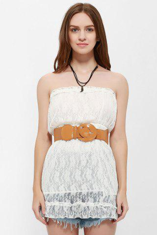 Store Strapless Mini Lace Tube Dress WHITE ONE SIZE
