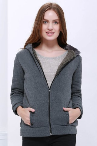 Fashion Fashion Casual Women's Thicken Hoodie Coat Outerwear Jacket DEEP GRAY ONE SIZE