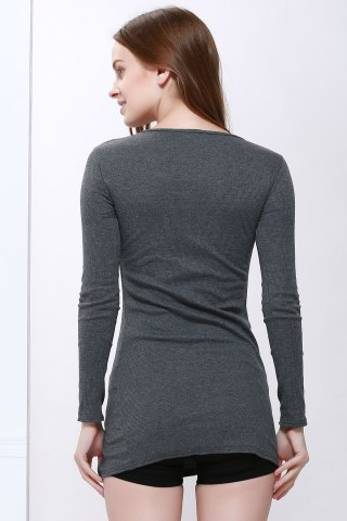 New Scoop Neck Solid Color Zip Decorated Women's Long Sleeve Dresses - ONE SIZE DEEP GRAY Mobile