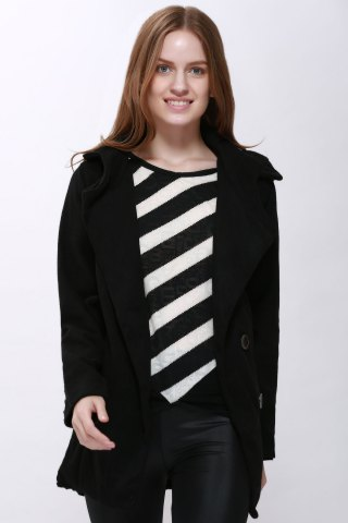 Buy Fashion Hooded Solid Color Single-Breasted Long Sleeves Thickened Design Women's Coat BLACK XL