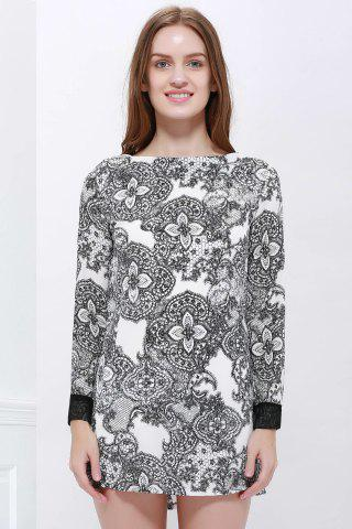 As The Picture Vintage Style Scoop Neck Printing Long