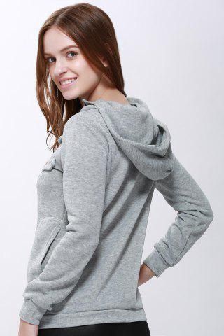 Best Casual Solid Color Long Sleeve Hoodie For Women - ONE SIZE(FIT SIZE XS TO M) GRAY Mobile