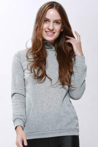 Hot Casual Solid Color Long Sleeve Hoodie For Women - ONE SIZE(FIT SIZE XS TO M) GRAY Mobile