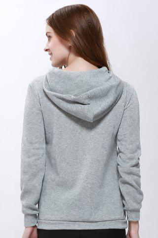 Latest Casual Solid Color Long Sleeve Hoodie For Women - ONE SIZE(FIT SIZE XS TO M) GRAY Mobile