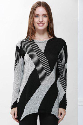 Stylish Jewel Neck Long Sleeve Geometric Loose-Fitting T-Shirt For Women - Black - One Size(fit Size Xs To M)