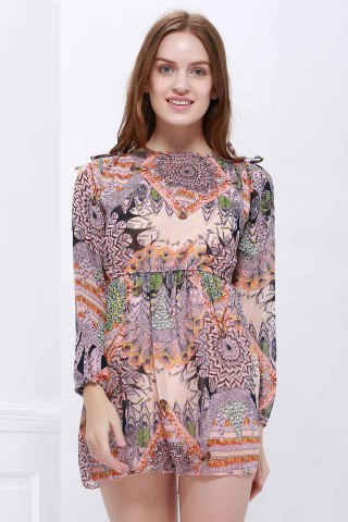 Trendy Printed Mini Chiffon Dress COLORMIX ONE SIZE
