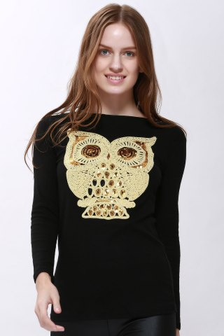 Shop Unique Women's Cartoon Owl T-shirt Casual Long Sleeve BLACK M