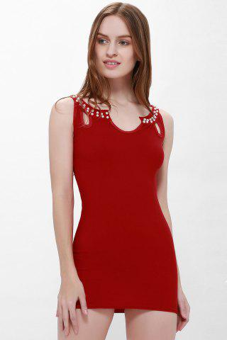 Best Solid Color Faux Pearl Packet Buttock Sexy Style Sleeveless Women's Dress - L RED Mobile