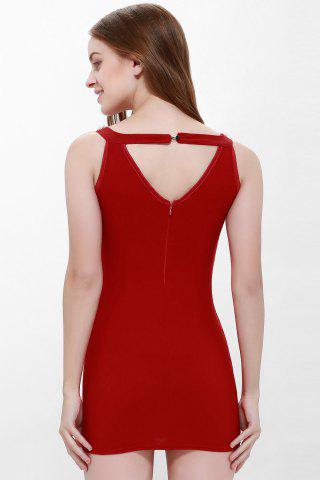 Latest Solid Color Faux Pearl Packet Buttock Sexy Style Sleeveless Women's Dress - L RED Mobile