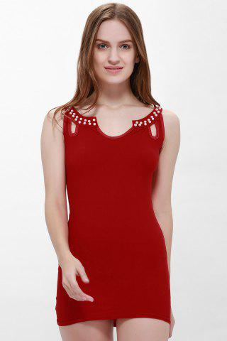 New Solid Color Faux Pearl Packet Buttock Sexy Style Sleeveless Women's Dress RED L