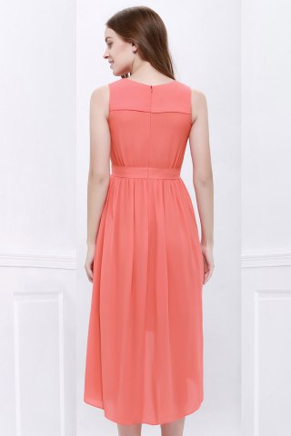 Hot High Low Hem Chiffon Bridesmaid Dress - M ORANGEPINK Mobile