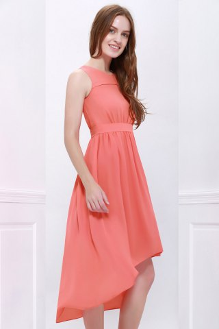 Shop High Low Hem Chiffon Bridesmaid Dress - M ORANGEPINK Mobile